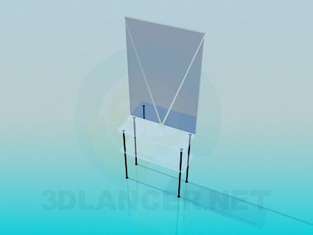 modelo 3D Mesa de vidrio con un espejo - escuchar