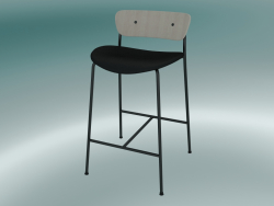 Bar stool Pavilion (AV8, H 85cm, 48х50cm, Lacquered oak, Leather - Black Silk)