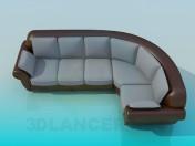 Угловой диван серо-коричневый
