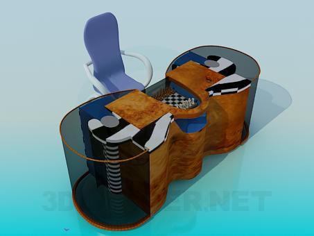 3d модель Стол с шахматной доской – превью