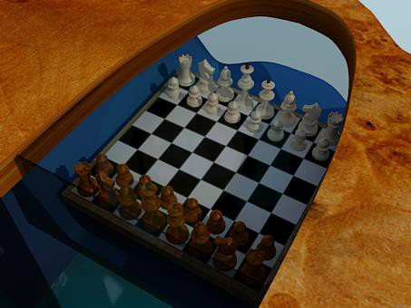 3d model Table with a chessboard - preview