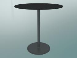 Tavolo BON (9382-01 (⌀ 70cm), H 74cm, HPL nero, ghisa grigio alluminio)