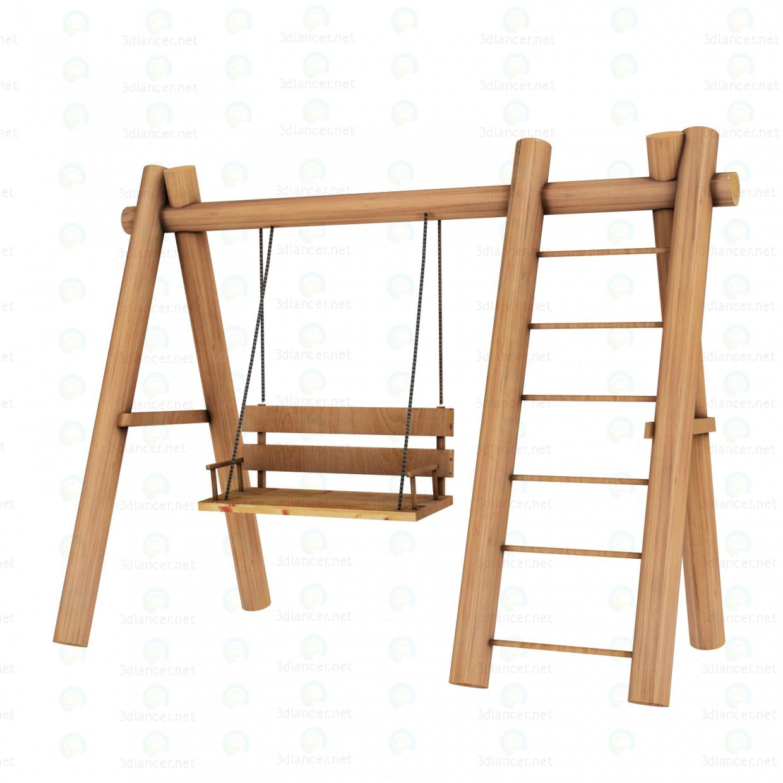 3d модель Дерев'яна гойдалка – превью