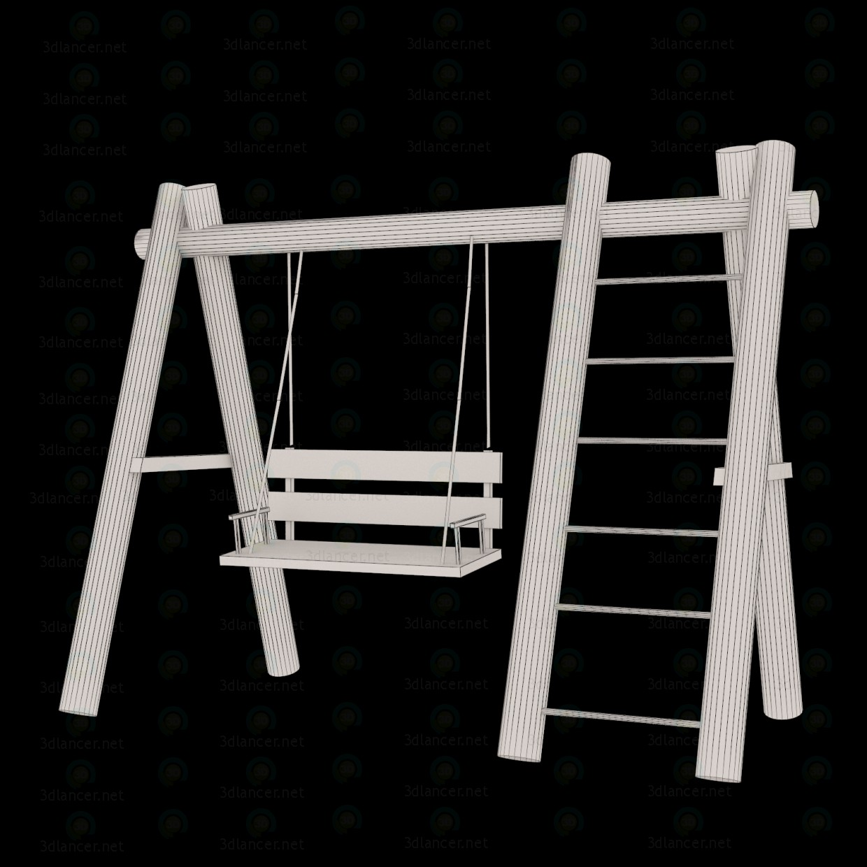 3d model Wooden Swing - preview