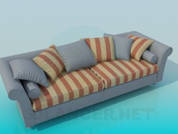 Striped sofa with pillows