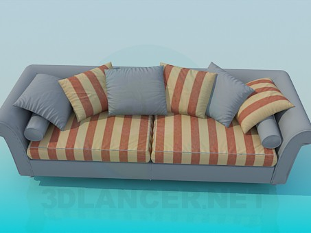 3d model Striped sofa with pillows - preview