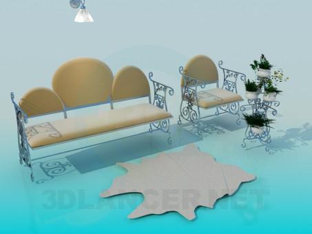 3d model Sofá con asiento - vista previa