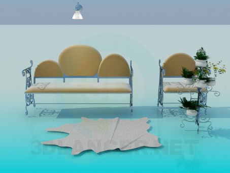 3d model Sofa forged with seat - preview