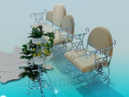 modelo 3D Sofá con asiento - escuchar
