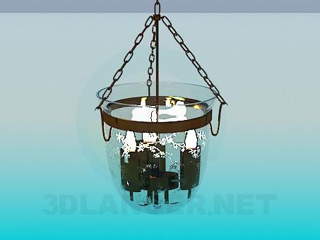 modelo 3D Vela de luminaria en una campana de vidrio - escuchar