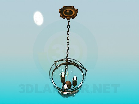 3d model Luminaire candle in a glass bell jar - preview