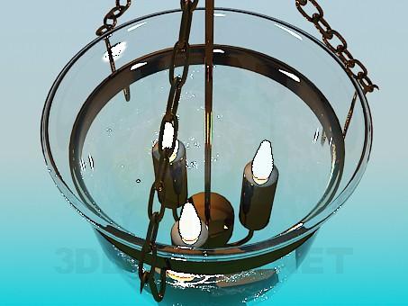 3d модель Светильник свечи в стеклянном колпаке – превью