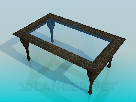 3d model Coffee table with glass surface - preview