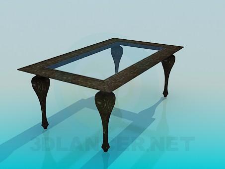 modelo 3D Mesa de centro con superficie de cristal - escuchar