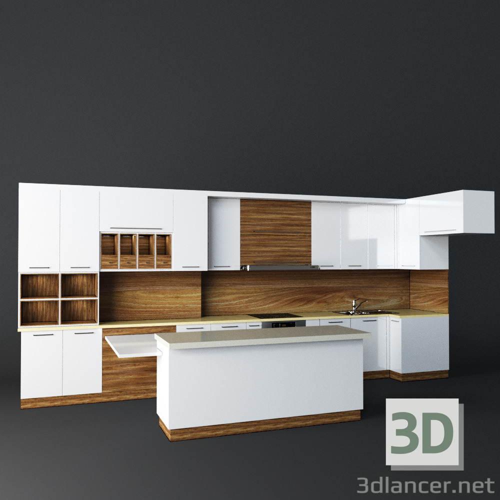 3d Model Kitchen Loft Max 2015 Fbx Art Deco Free Download