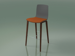 Bar chair 3999 (4 wooden legs, polypropylene, with a pillow on the seat, walnut)