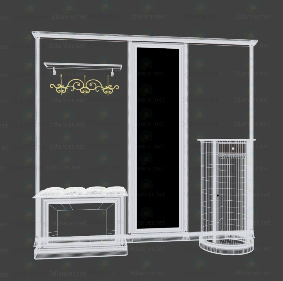 3d model Wardrobe in the hallway - preview