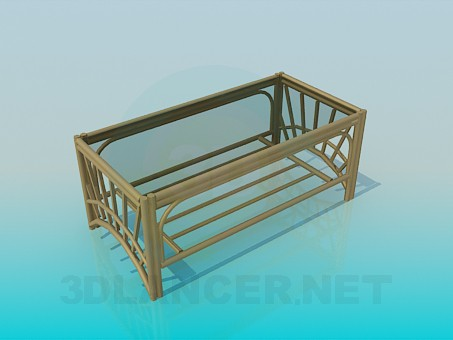 3d model Braided table with glass tabletop - preview