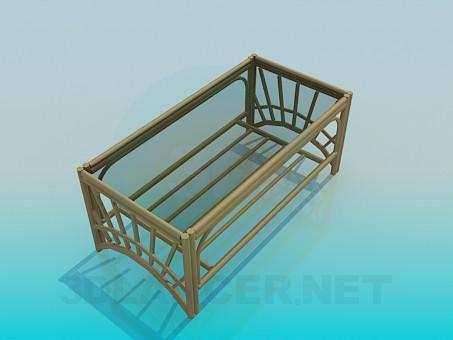 3d модель Плетеный столик со стеклянной столешницей – превью