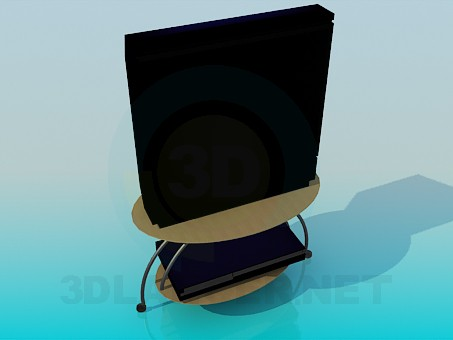 3d model TV with video player on the table - preview