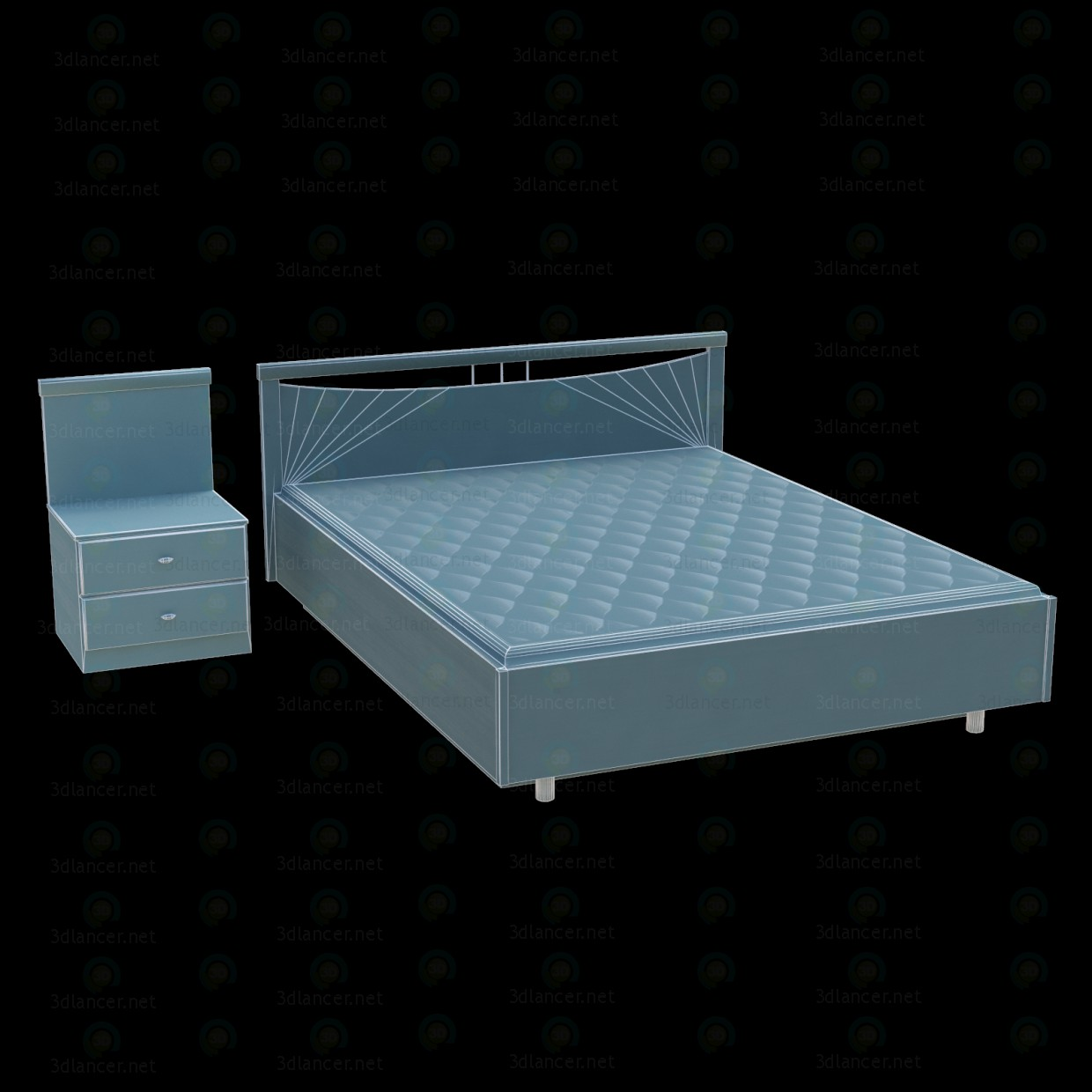 3d model The bed and nightstand DMI - preview