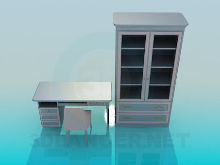 3d model Chair, desk and closet in the set - preview