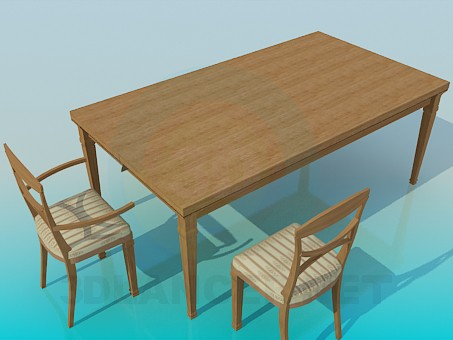 3d model A large dining table - preview