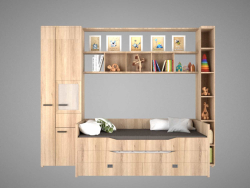 Children's bed with shelving and decors.