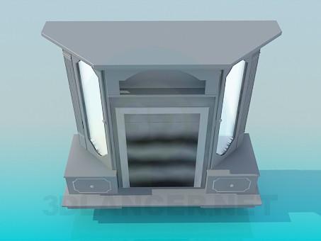 modelo 3D Elegante piso permanente con espejos - escuchar