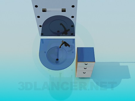 3d model Glass wash basin, mirror and cupboard - preview
