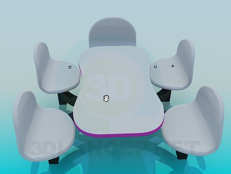 modelo 3D Mesa y sillas - escuchar
