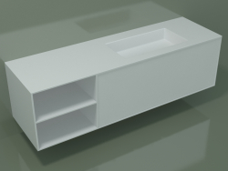 Washbasin with drawer and compartment (06UC934D2, Glacier White C01, L 168, P 50, H 48 cm)