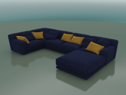 Sofa five-seater angular Tutto with a padded stool (1150)