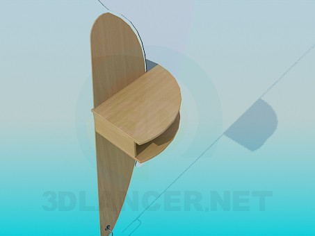 3d model Oval mirror with shelf - preview