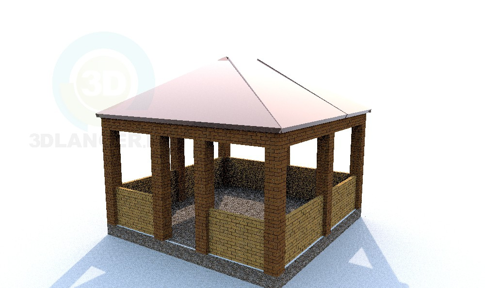 descarga gratuita de 3D modelado modelo Un summerhouse simple y práctico