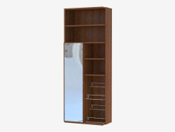 Furniture wall element with open shelves and mirror