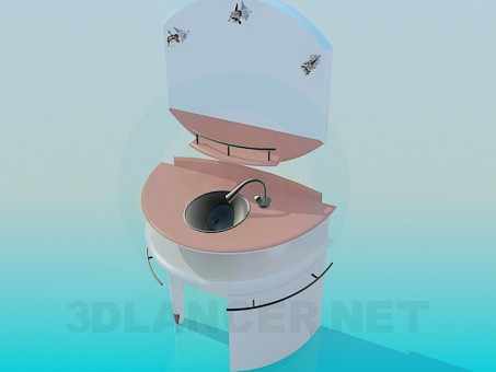 3d model wash sink with mirror - preview