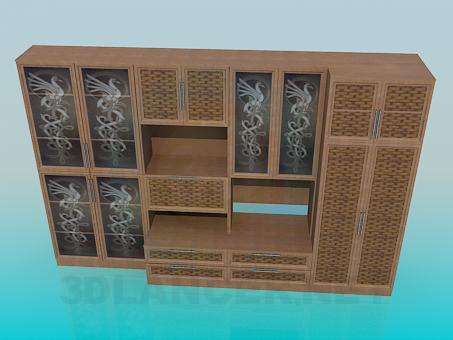 3d модель Стенка с плетенкой – превью