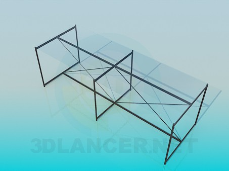 3d model Coffee oblong table - preview