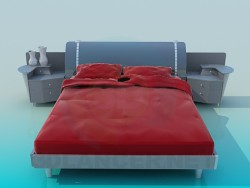 Bed with bedside tables