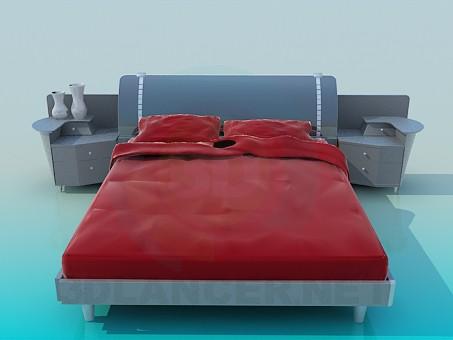 3d modeling Bed with bedside tables model free download