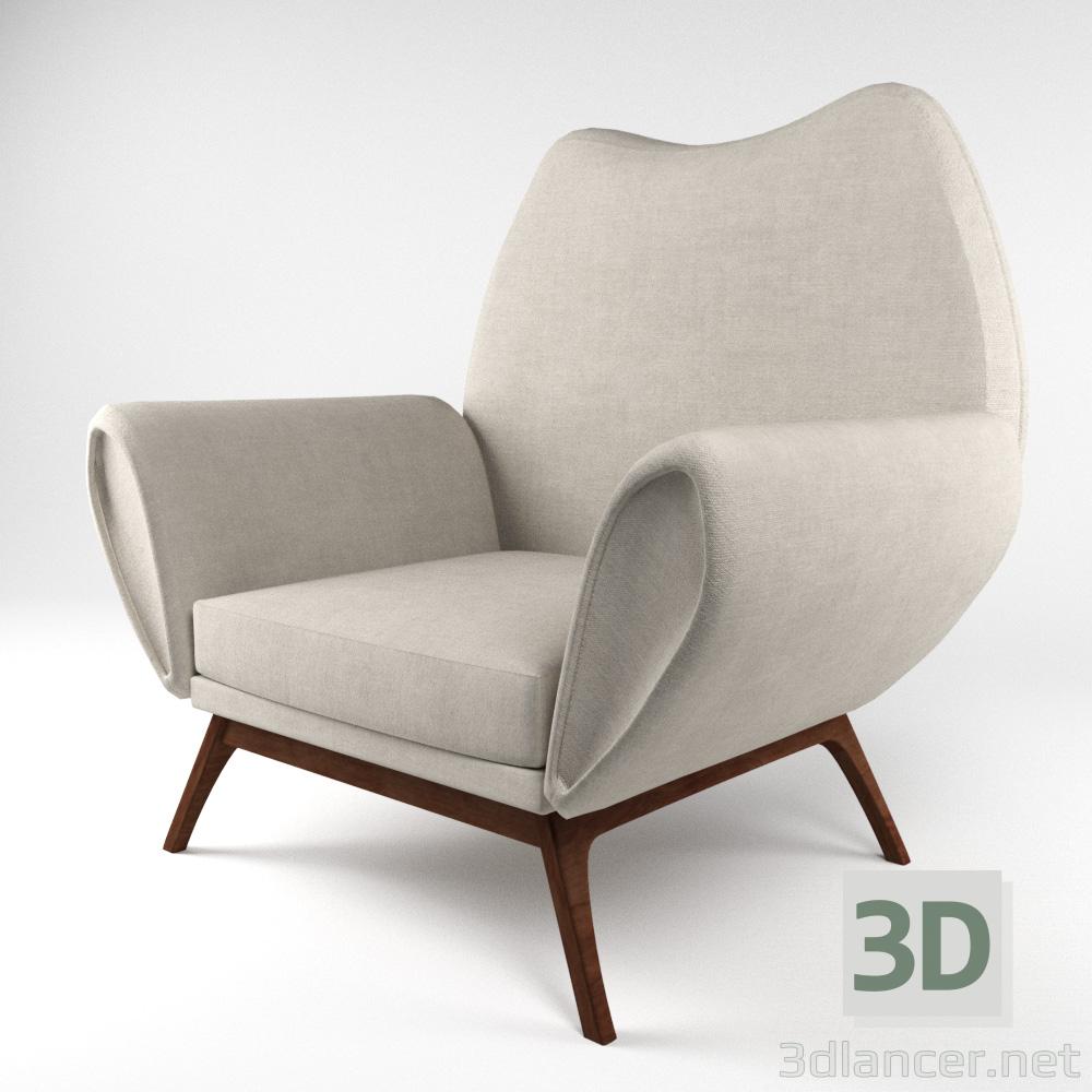3d Rare kurt østervig lounge chair, denmark 1960s model buy - render