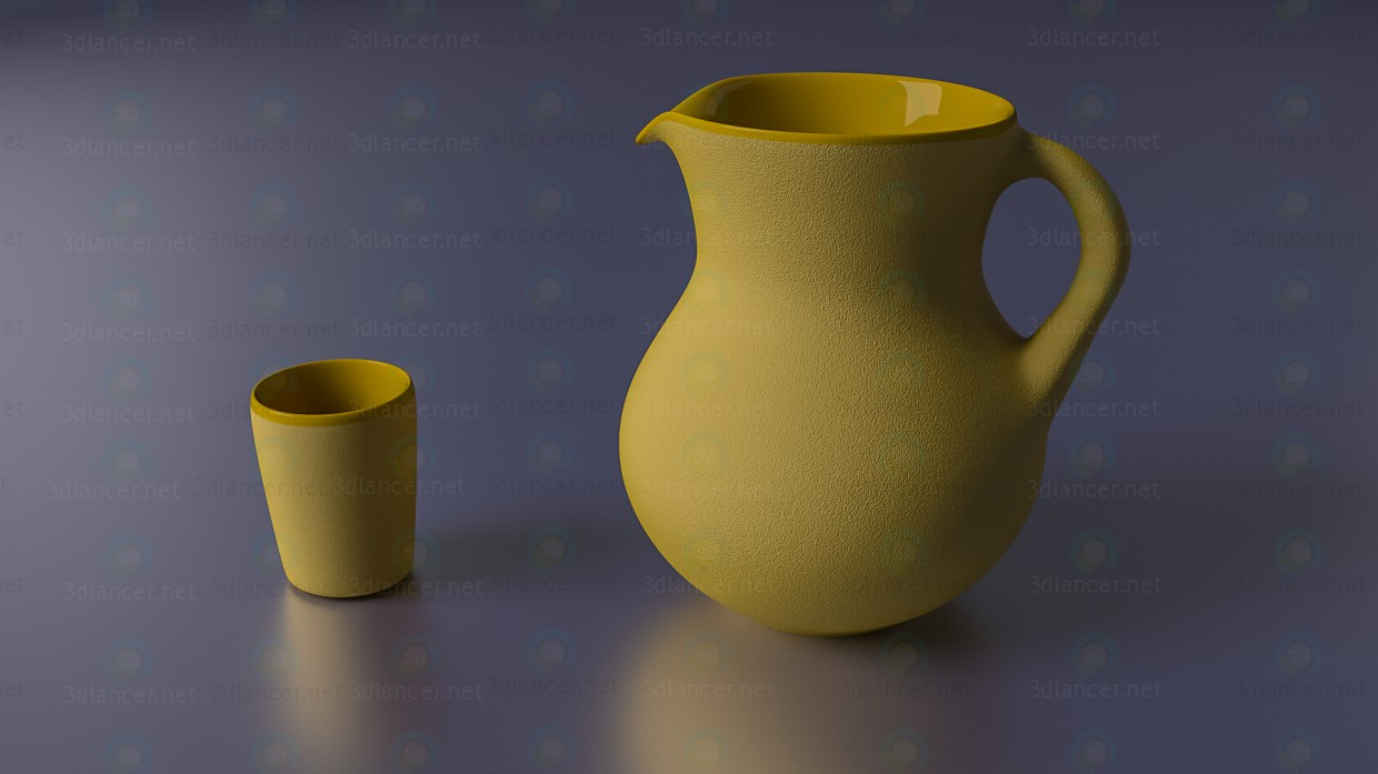 3d model Jug and glass glazed clay from the inside - preview