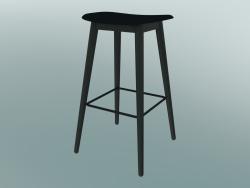 Bar stool with Fiber wood base (H 75 cm, Black)