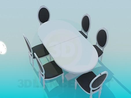 3d модель Комплект обеденный стол и 6 стульев в классическом стиле – превью