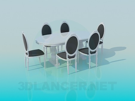 3d model Set of dining table and 6 chairs in classic style - preview