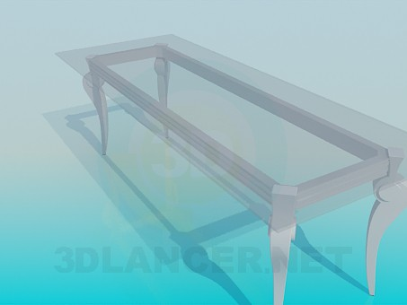 3d modeling Long glass table in a classic implementation model free download