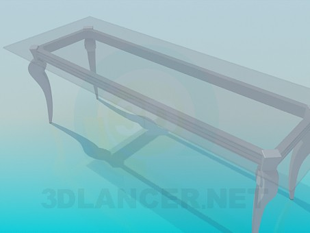 3d model Long glass table in a classic implementation - preview