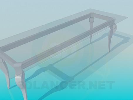 3d модель Довгий скляний стіл в класичному виконанні – превью
