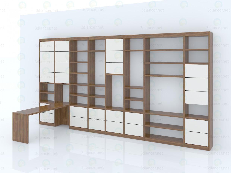 modelo 3D Estante de la sala de estar con escritorio incorporado - escuchar